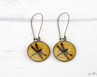 Dragonfly vintage #1106 yellow earrings