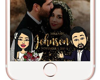 Bitmoji Snapchat Filter Wedding, Cartoon Snapchat Wedding, Wedding Snapchat Geofilter, Wedding Snapchat Filter, Custom Wedding Filter