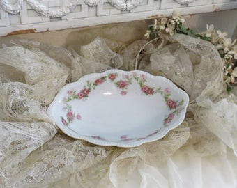 Vintage soap dish, floral, soap dish, vintage china, vintage ceramic, shabby chic, pink roses, swag, french country, farmhouse chic, vanity