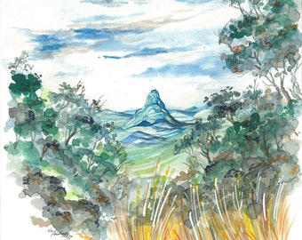 Mountains Amongst Bushes | Watercolor, Pencil, Ink, Drawing, Nature, Outdoors, Australia, Views, Trees, Blue, Green, Sky