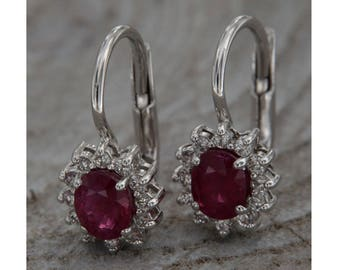 18 kt white gold earrings. With rubies and diamonds, handmade pendants with ruby and diamond, Italian jewels Monachella and semiprecious stones