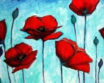 "Modern Art Floral - Original Painting - 15"" X 30"" X 1.5"" - Acrylic on Canvas"