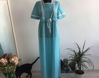 Folk Blue Vintage Hungarian Night Down Dress
