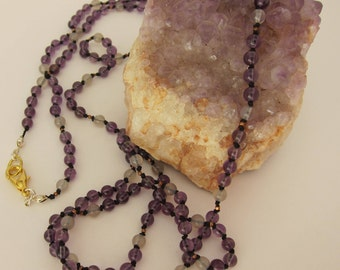 Amethyst-Gray Agate Wrap Necklace - Genuine Gemstones & Pure Silk Thread