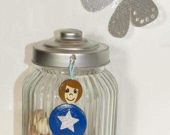 Bag charm, Keychain, great friend, Blue Star Sequin, wooden bead, handpainted, balls of smiles message, personalized
