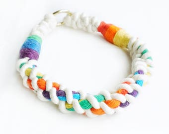 Rainbow Cable Nautical Rope Dog Collar