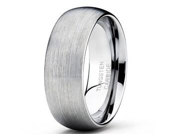 Silver Tungsten Wedding Band Tungsten Carbide Men & Women Tungsten Wedding Ring Brush Tungsten Comfort Fit Ring