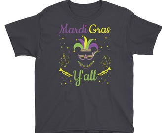 Mardi Gras Y'all Festive Musical Celebration Youth Short Sleeve T-Shirt