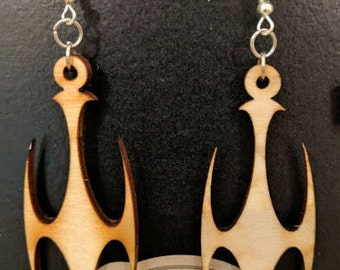 Natural Wood Earrings - Gothic Cross