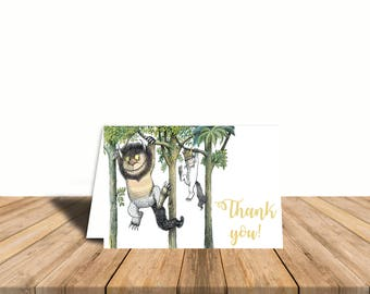 Where the Wild Things Are Thank You Card, Blank Inside, Automatic Digital Download, Gender Neutral