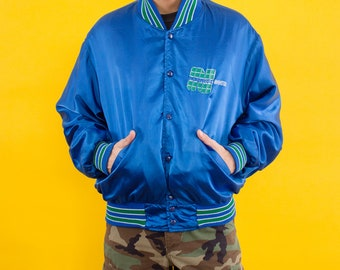 Varsity Jacket, 90s, Banks, Print, Bomber Jacket, Vintage Jacket, Shiny, Blue, Green, Letterman Jacket, Jacket, Button Up, Vintage, Hipster