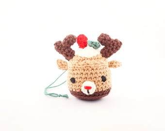 Cupcake - crochet Christmas ornament - reindeer amigurumi
