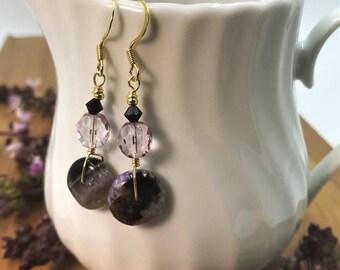 Agate Earrings, Agate Bead Earrings, Agate Dangle, Agate Drop, Purple Earrings, Crystal Earrings, Boho Earrings, Gemstone Earrings