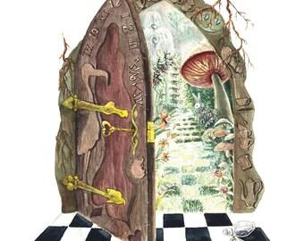 Literary Window Series: Alice in Wonderland inspired 5x7 Watercolor Art Print, Children's Books, Nursery Art, Classic Literature