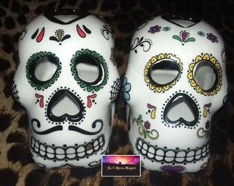 Sugar Skull - Calavera - Santa Muerte Skull Tealight Candle Holder Lanterns Green Or Yellow Eyes with free Tealight