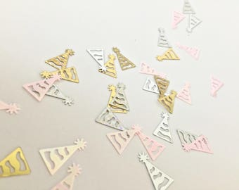 30pcs Partyhat shaped Confetti // Small Plastic Party Birthday Decoration Gold Silver Pink Holographic Glitter Sparkle Table Gifts