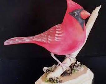 songbird carving, bird carvings, handmade cardinal, bird decor, wooden bird