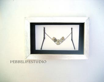 angry bird, thick birdie, Pebble art, Pebble picture , unique engagement gift, Pebble birdies