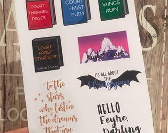 Rhysand, Feysand, Sarah J Maas, ACOMAF, ACOTAR, ACOWAR, Bookish, Book stickers Handmade stickers