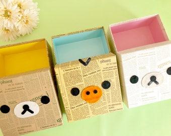 Paste rilakkuma box //Rilakkuma storage box //case manufacturing //gift box //box attached //paper box //cartonnage box