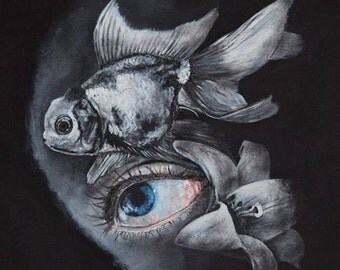 Fish with Eye & Flower Print