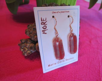 Brick and white glass earrings