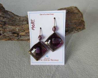 Bronze and purple glass earrings