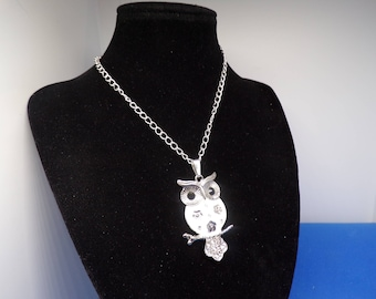 Silver OWL pendant studded with Rhinestones necklace