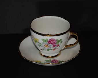 Bone China, Teacup, and saucer, Blue Flowers, Gold Rimmed, England, 8618, Vintage, Valentines Day gift