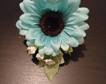 Light Blue Gerbera Wrist/Lapel/Handbag Ladies Corsage