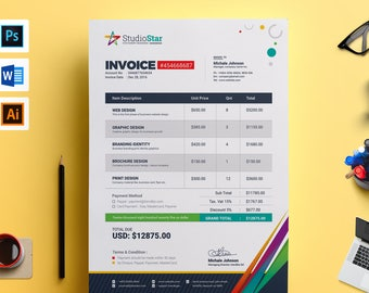Invoice Etsy - Psd invoice template