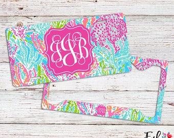Monogrammed Lilly Inspired License Plate/Frame - Let's Cha Cha
