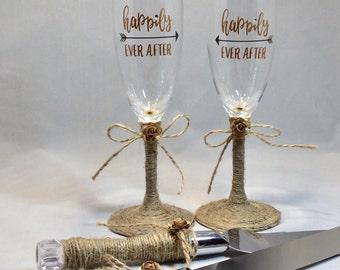 Rustic Boho Wedding Decor Toasting Glasses and Cake Server Set Cake Knife & Server Set, Happily Ever After, Toasting Flutes, Wedding Decor