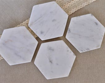 Marble Coasters, Marble Coaster set - Italian Carrara Marble - Marble Home Decor, geometric coaster set