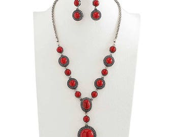 Antique Red Stone Necklace Set!