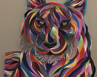 "Abstract Tiger - Quilling Wall Art - 1/8""(3mm) Paper  Strips Painting"