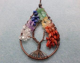 Multi gemstone Tree of Life Pendant in Copper