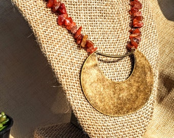 Red Amber & Bronze Necklace