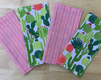 Cactus Cloth Napkins. Set of 4 Reversible Reusable Napkins. Cactus Decor. Sustainable Living. Eco-Friendly Gift. Green and Coral Napkins.