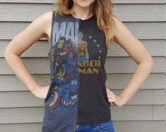 Marvel/Wonder Woman Spliced Asymmetrical Upcycled Tank Top, XS/S