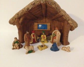 "Vintage 1983 Ceramic Christmas Village Nativity Scene Set Manger Three Wise Men Baby Jesus Mary Joseph North Star Holiday Decoration 11"""