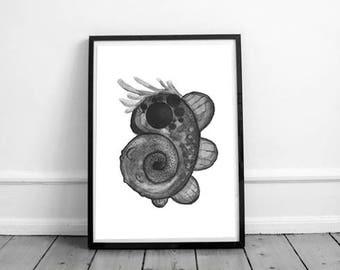 Ink Print 1 | Digital Illustration | Wall Art | Printable | Alien Creature | Hand-drawn | Black and White
