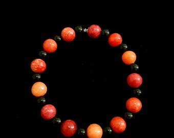 Sun Fire Red and Black Bracelet