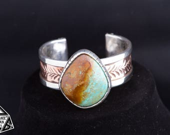 925, Sterling Silver, and Copper, Hand Stamped, Signed, Women's, Kingman, Red Matrix, Turquoise Cuff , Bracelet * 91g