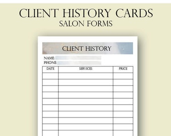 Client History Cards, Salon Client History Cards, Beautician Client Cards,  Services Card, Hair Stylist, Nail Technician, Eyelash Tech,