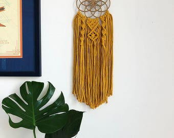 Small Seed of Life Macrame Wall Hanging Dreamcatcher Yellow Cotton Cord, Medium Woven Wall Hanging, Dream Catcher, Sacred Geometry