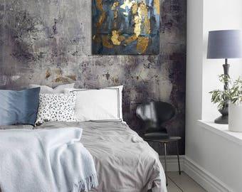 Original metallic heavy textured GALLERY canvas 24x24 blue gold