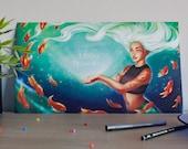 Mermaid art print, mermai...