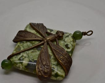 Large Diamond Shaped Rhyolite Rainforest Jasper focal bead wrapped in Vitaj Dragonfly and wire w Jade beads