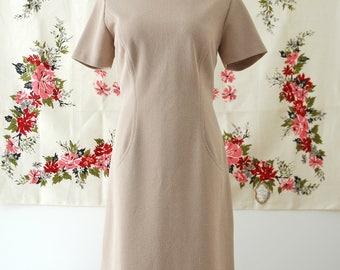 """Vintage Tan Sheath Dress // Short Sleeved """"Ladies Pride"""" 1960s Dress"""